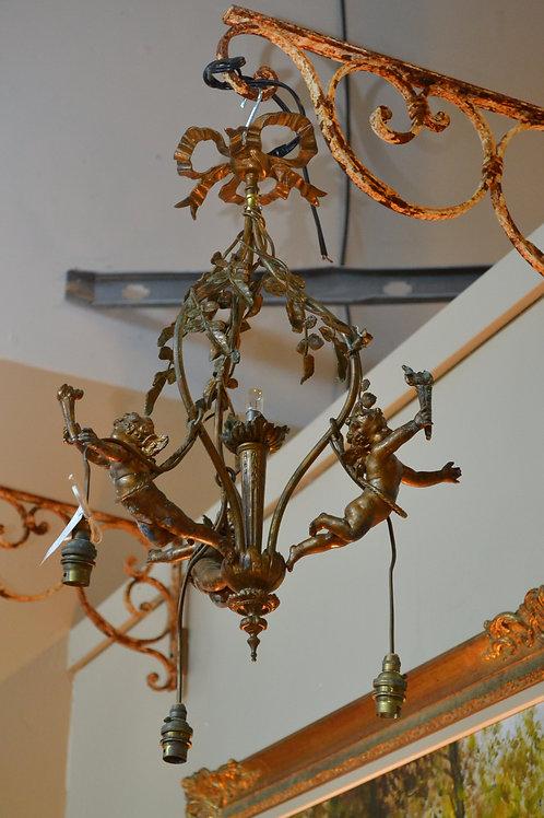 Antique art noveau flying cherub chandelier- 24 x 16