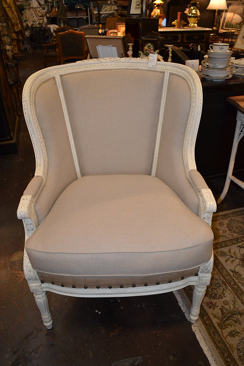 FRENCH CARVED WING CHAIR