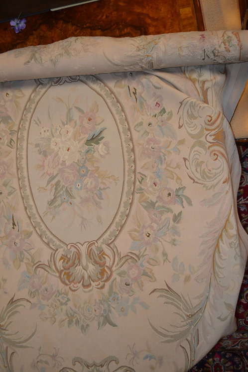 Aubusson rug muted pastels w roses