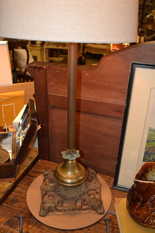 Lamp- custom cast base, reeded column, tall, natural shade