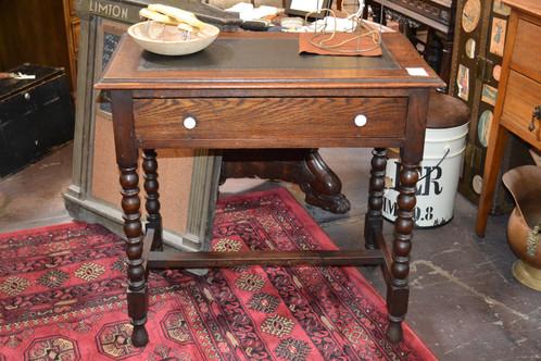 - Antique Small Barley Twist Oak Writing Desk
