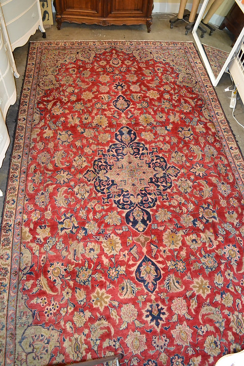 Fabulous time-worn antique Persian Kirman area carpet with finely knotted detail