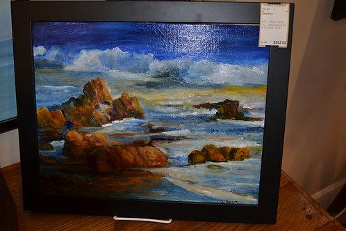 ART-  ORIG LOCAL OIL, CRASHING SEA W ROCKS, 15x13