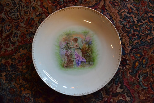 Wonderful goddess in purple porcelain platter
