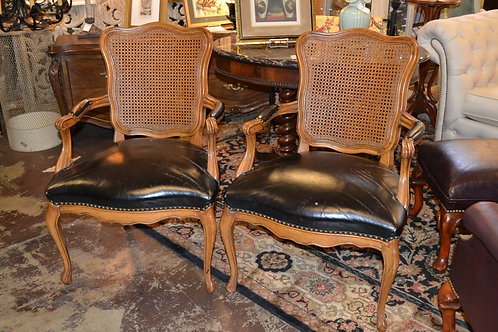 Vintage black leather French arm chair