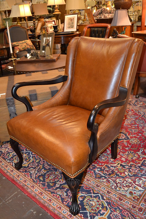 Old Hickory Tannery leather club, lounge chair