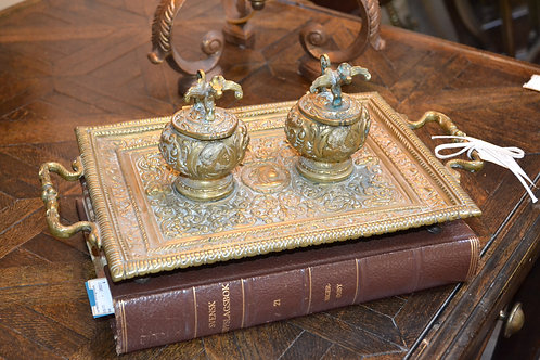 Antique ornate brass inkwell tray