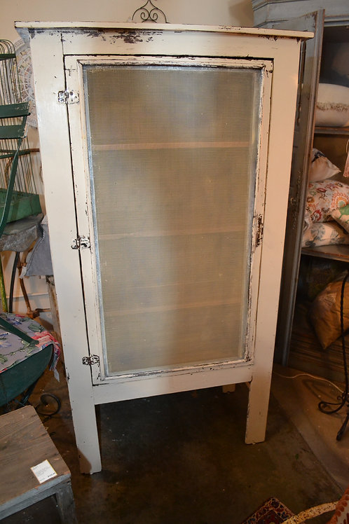 ANTIQUE PAINTED SHABBY SCREENED PIE SAFE- 35x17x69