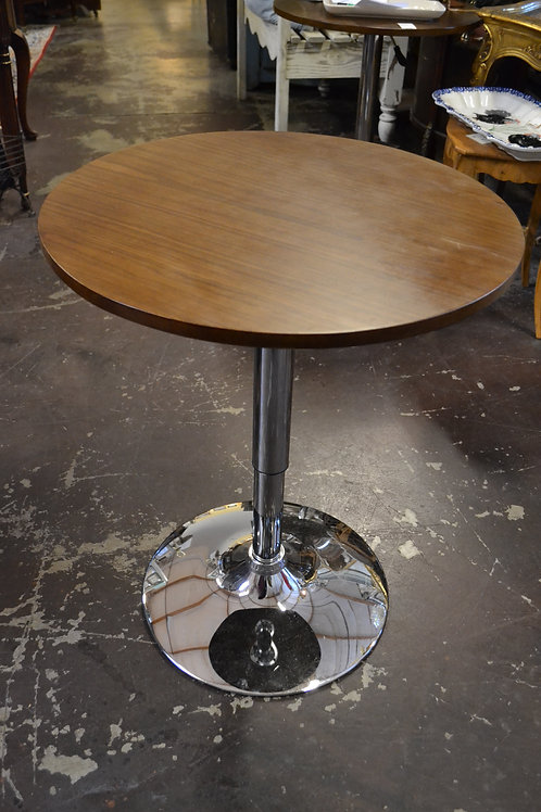 Chrome base adjustable height round side table