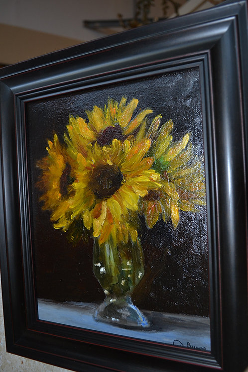 ART- OIL by DIANE BURNS- SUNFLOWERS, 13x11