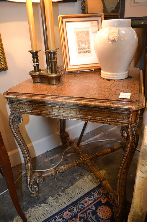 SQUARED CRACKLE FINISH SIDE OR END TABLE W FRENCH LEGS