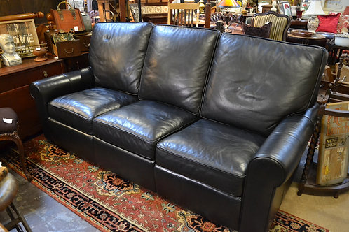 Stickley black leather electric dual recline sofa