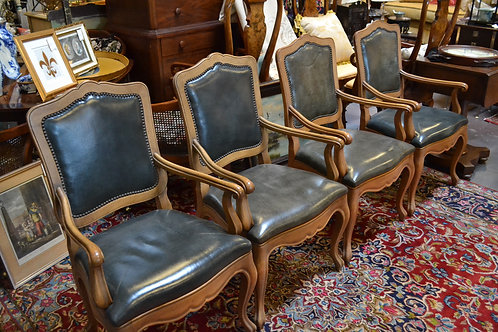 Set of 4 BAKER leather french dining chairs