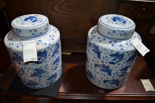 """LARGE CHINESE REPEATING COY FISH CANISTER W LID- 10"""""""