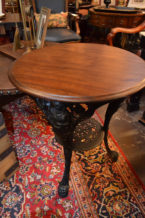 Antique cast pub table w oak top