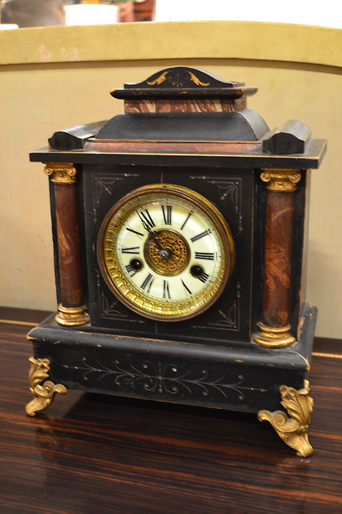 American walnut mantel pendulum clock