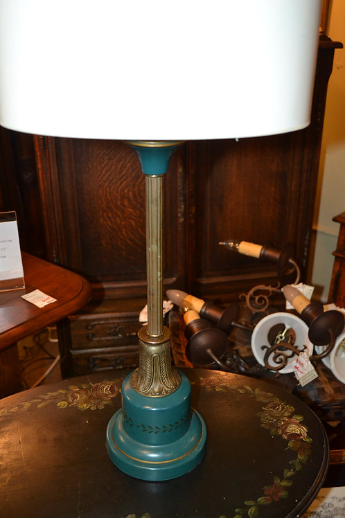 """Lamp- french candlestick antique brass, oval white shade- 27"""", $85  Reference #1"""