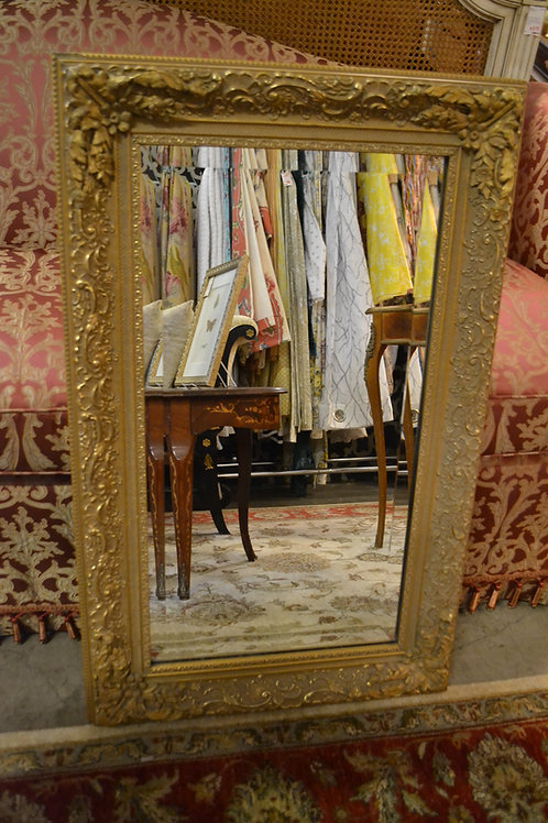 Mirror- Beveled, gold painted swirling acanthus, heavy molded corners