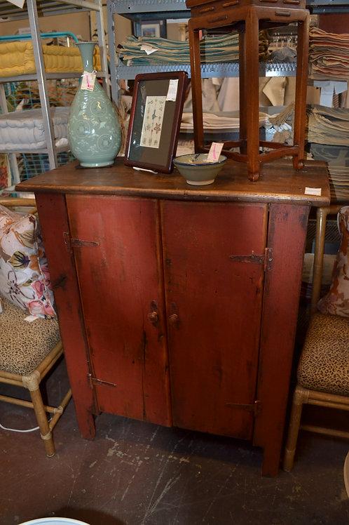 Primitive cabinet, barn red, 3 shelf