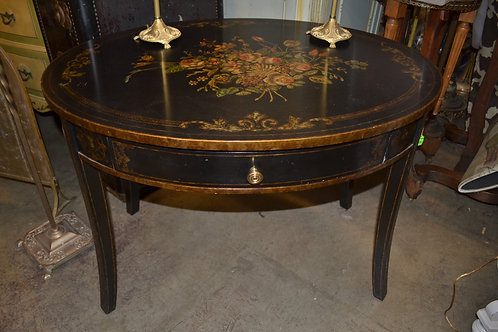 Maitland Smith oval end or side table w floral design