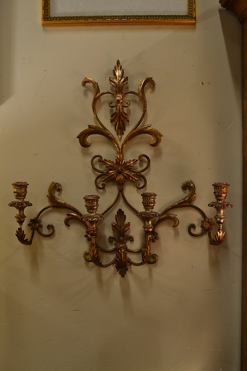 Large gold gilt 3 arm wall candelabra or sconce