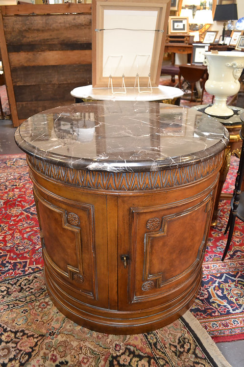 LARGE ROUND FAUX MARBLE TOP SIDE TABLE- 30x28