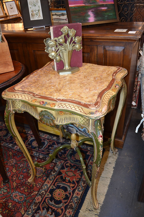 ANTIQUE HAND PAINTED MARBLE TOP SIDE TABLE