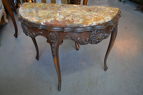French marble top demilune carved shell base side table
