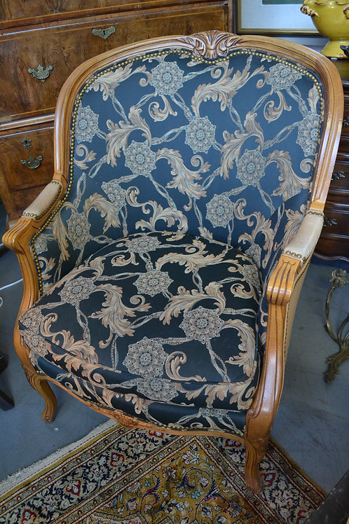 Hancock & Moore leather back french upholstered chair