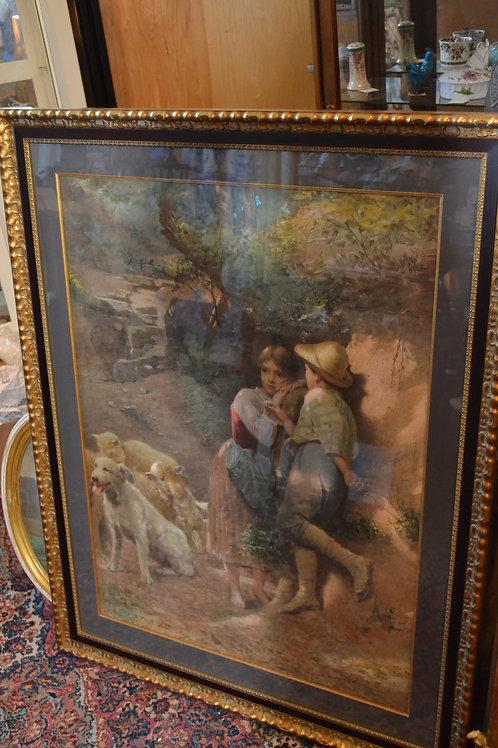 Watercolor, Italian artist- Augusto Bompiani