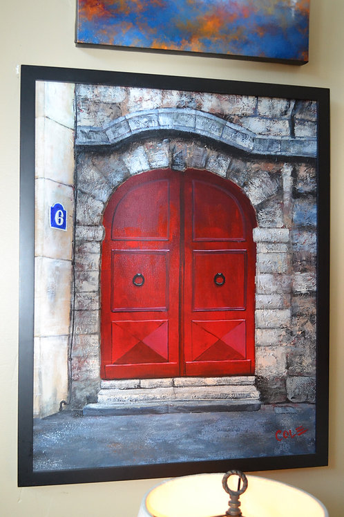 ART- ORIG ACRYLIC, FRENCH ARCHED DBL DOOR W STONE- 24x30