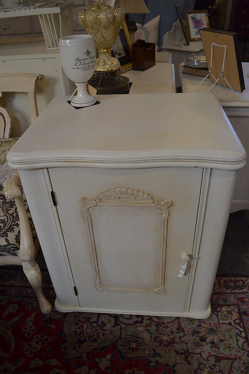 Painted, waxed, 2 shelf cabinet, french style