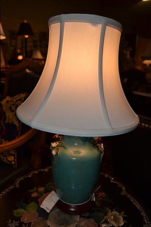 LAMP- TEAL CERAMIC ASIAN JAR