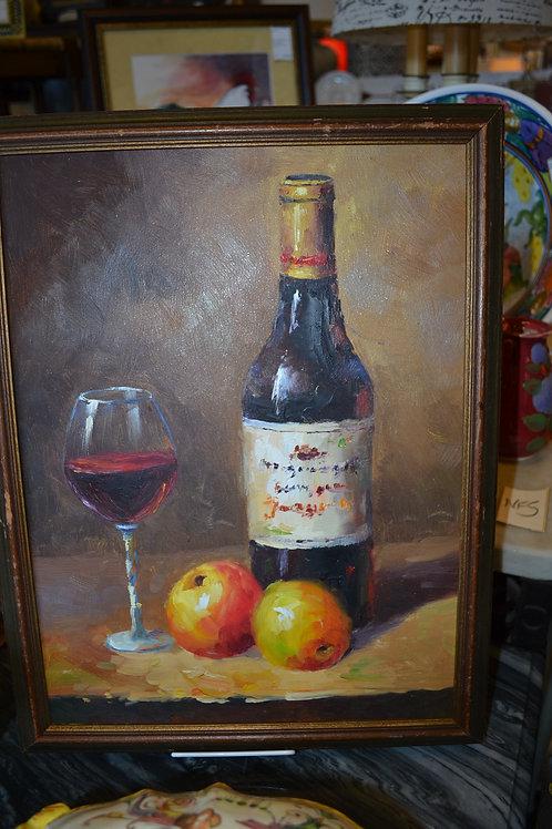 ART- ORIG OIL, STILL LIFE, WINE AND FRUIT
