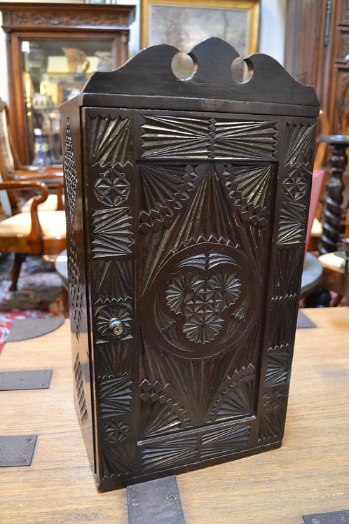 Antique french carved wooden tea caddy
