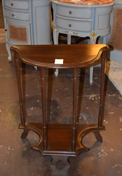 Perfect Demilune Dark Wood Side Table