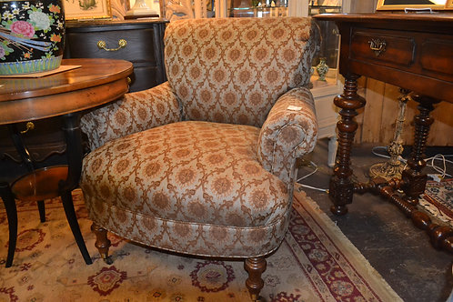 WESLEY HALL PRETTY UPHOLSTERED FLUER D'LIS PRINT BR CHAIR, CASTERS