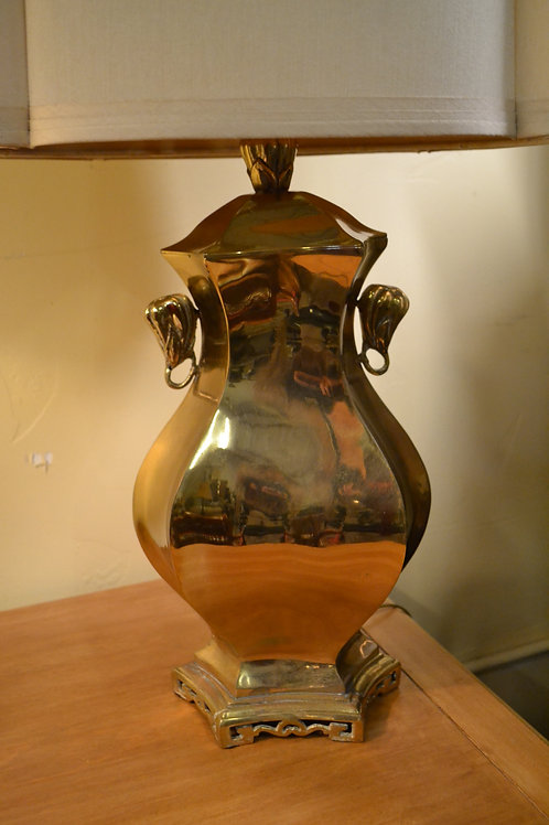 Lamp- Marbro vintage brass Asian urn, custom shade