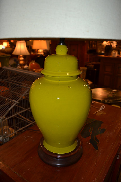 Lamp- Vintage rewired! Chartreuse ginger jar, wood base