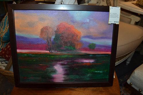ART- ORIGINAL LOCAL ARTIST OIL, CRIMSON SUNSET ON MEADOW, 11x14