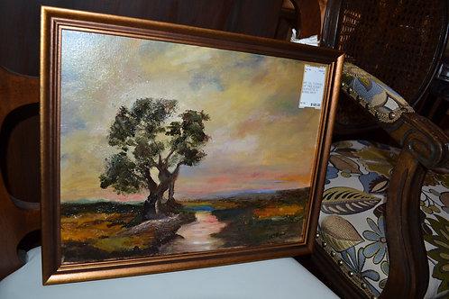 "Art- Oil, ""Looking on"" tree sunset silhouette"