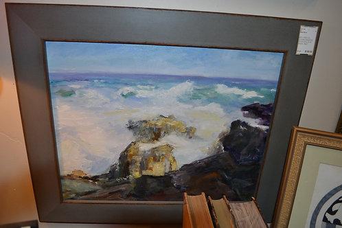 ART- ORIG OIL, OCEAN CRASHING ON ROCKS, BLUE SKIES- 25x21