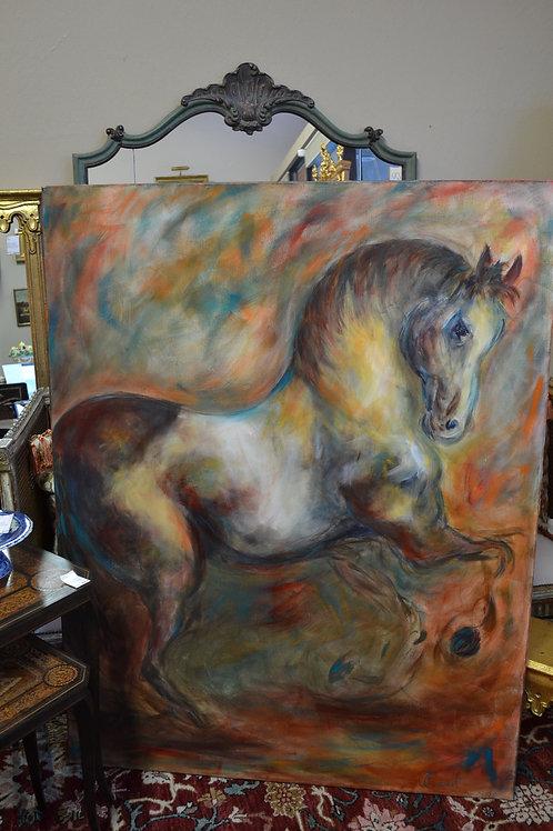 """Art- acrylic horse on canvas, """"cheveauche magique"""""""