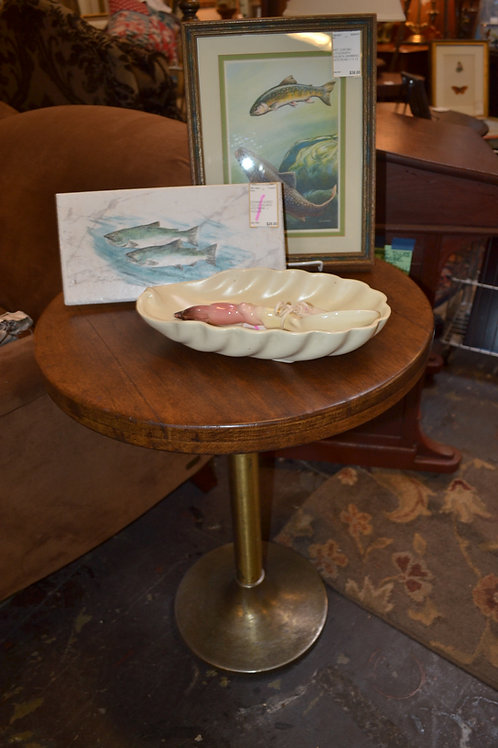 Vintage oak top nautical side table from bar