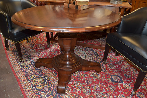 Baker Milling road foyer/dining pedestal table w glass top