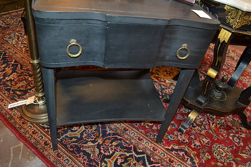 VINTAGE PNTD FRENCH nightstand or SIDE TABLE W SCALLOP RAIL