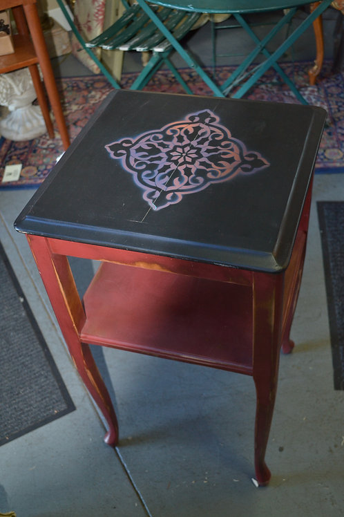 Tall stenciled side table