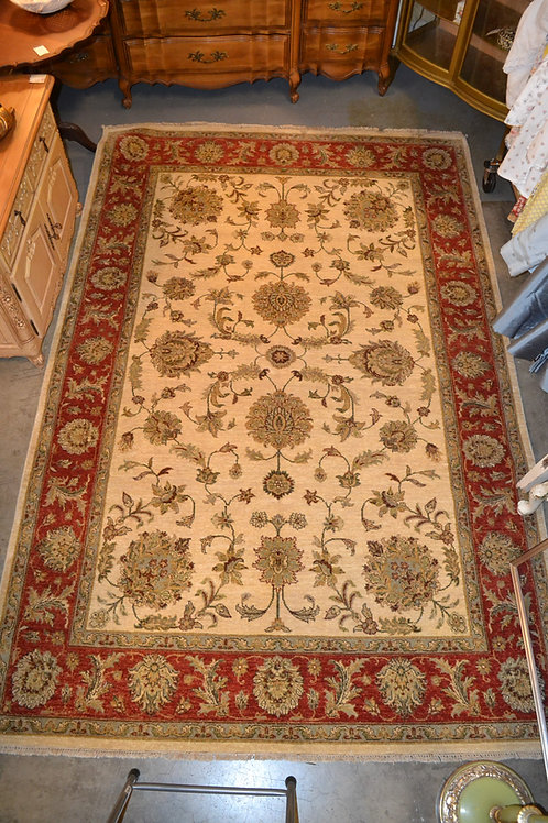 Newer Persian Ziegler tightly knotted carpet in red and cream colorway