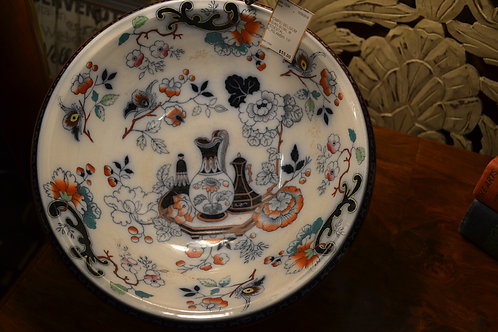 Pompei Belgium Asian bowl w pedestal- blue, rose, amber