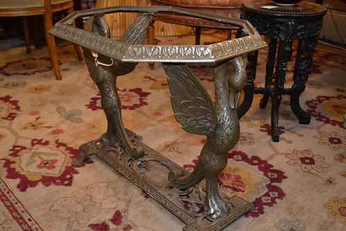 Antique cast metal double swan side table